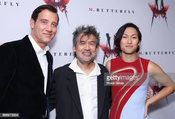 Clive Owen Playwright David Henry Hwang and Jin Ha pose at the Opening Night After Party for 'M Butterfly' on Broadway at Red Eye Grille on October...