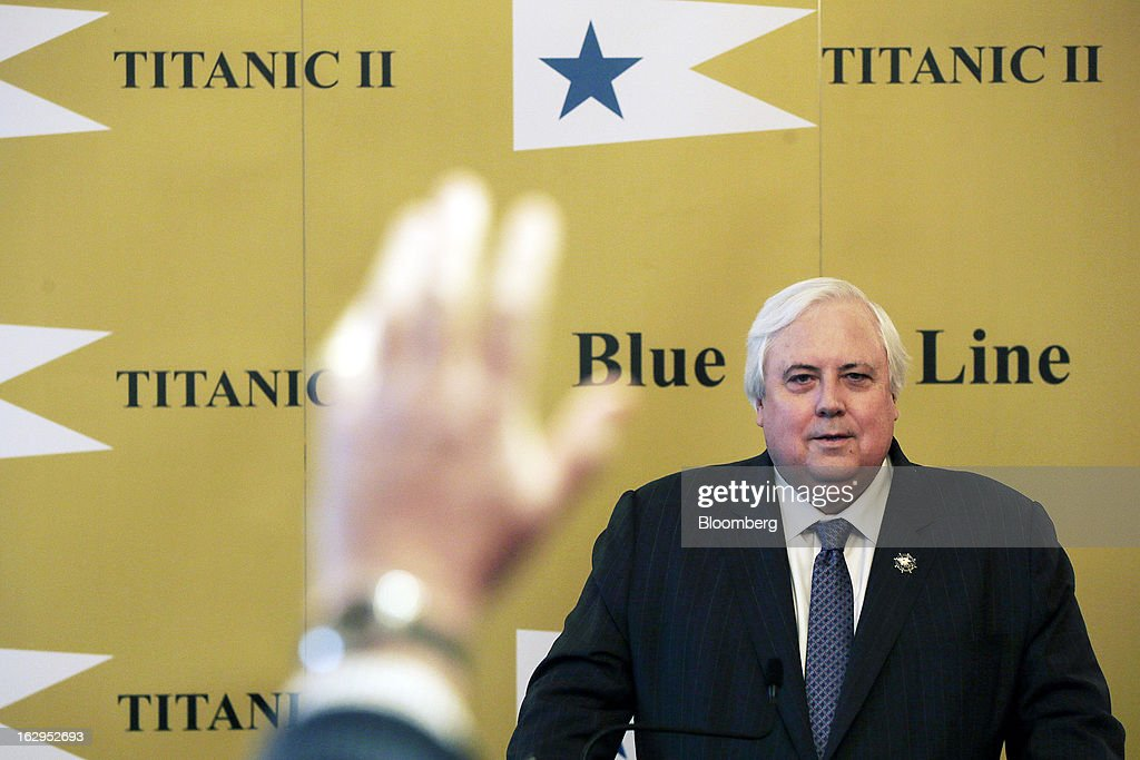 Clive Palmer, Australian billionaire and mining magnate, answers questions during a news conference on the plans for the replica Titanic at the Ritz hotel in London, U.K., on Saturday, March 2, 2013. Palmer plans to build a 21st Century replica of the Titanic and sail it from England to New York by the end of 2016. Photographer: Matthew Lloyd/Bloomberg via Getty Images