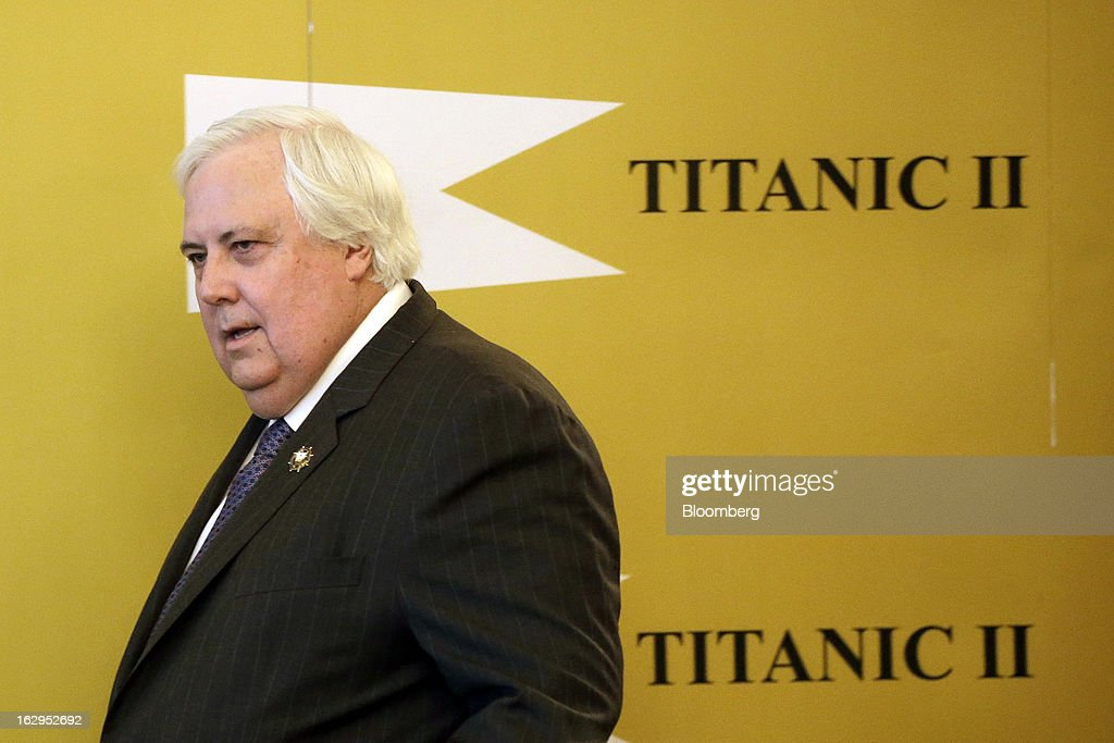 Clive Palmer, Australian billionaire and mining magnate, arrives for a news conference on the plans for the replica Titanic at the Ritz hotel in London, U.K., on Saturday, March 2, 2013. Palmer plans to build a 21st Century replica of the Titanic and sail it from England to New York by the end of 2016. Photographer: Matthew Lloyd/Bloomberg via Getty Images