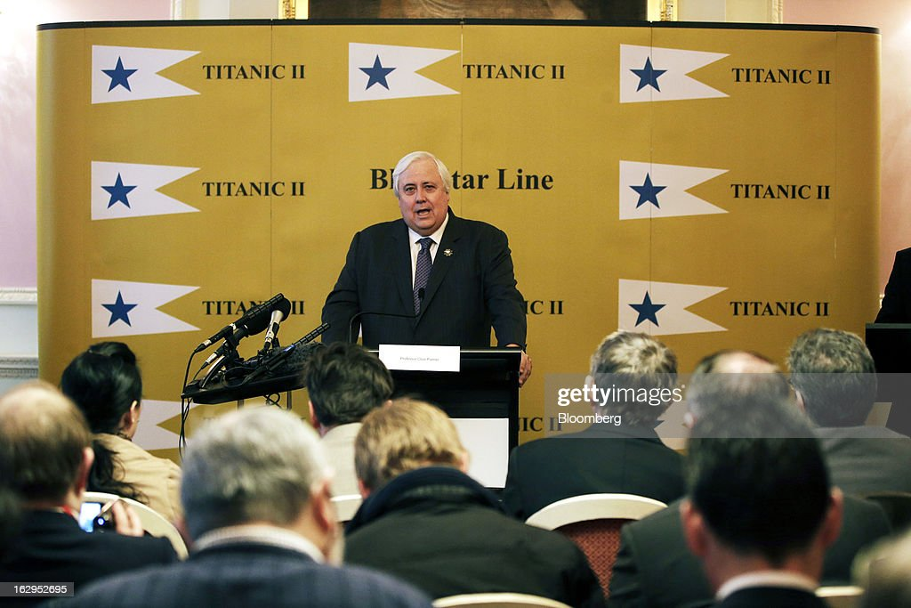 Clive Palmer, Australian billionaire and mining magnate, speaks during a news conference on the plans for the replica Titanic at the Ritz hotel in London, U.K., on Saturday, March 2, 2013. Palmer plans to build a 21st Century replica of the Titanic and sail it from England to New York by the end of 2016. Photographer: Matthew Lloyd/Bloomberg via Getty Images