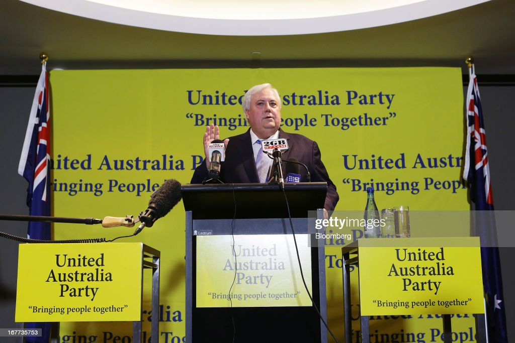 Clive Palmer, chairman of Mineralogy Pty, speaks during a news conference in Sydney, Australia, on Monday, April 29, 2013. Palmer said opposition leader Tony Abbott, who is leading in polls ahead of the Sept. 14 election, should be worried that conservative voters will be wooed to his new political party. Photographer: Brendon Thorne/Bloomberg via Getty Images