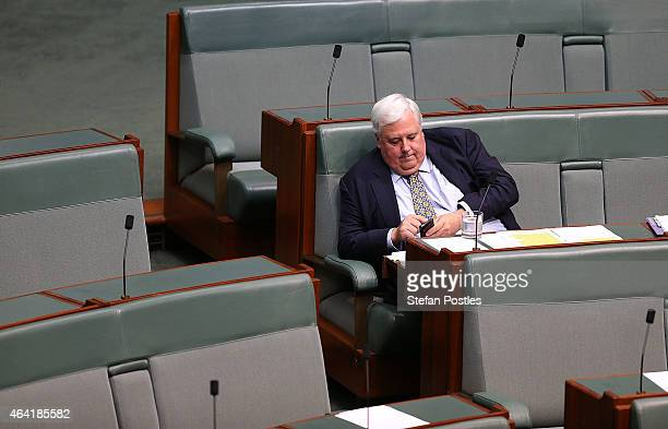 Clive Palmer during House of Representatives question time at Parliament House on February 23 2015 in Canberra Australia