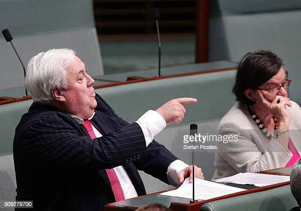 Clive Palmer during House of Representatives question time at Parliament House on February 10 2016 in Canberra Australia