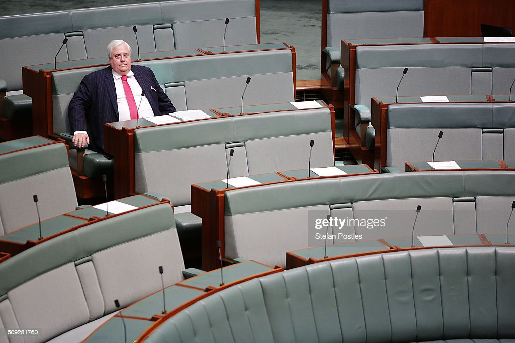 <a gi-track='captionPersonalityLinkClicked' href=/galleries/search?phrase=Clive+Palmer&family=editorial&specificpeople=5874044 ng-click='$event.stopPropagation()'>Clive Palmer</a> of the Palmer United Party ahead of House of Representatives question time at Parliament House on February 10, 2016 in Canberra, Australia.