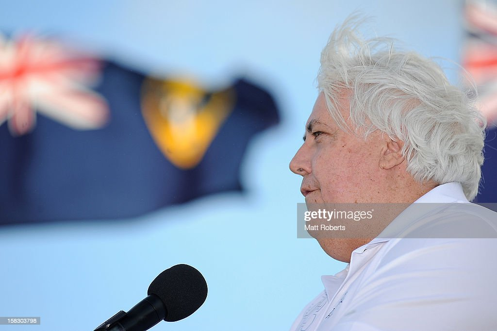 Clive Palmer speaks during the launch of the Greg Norman Junior Masters at Palmer Colonial Golf Course on December 13, 2012 on the Gold Coast, Australia.
