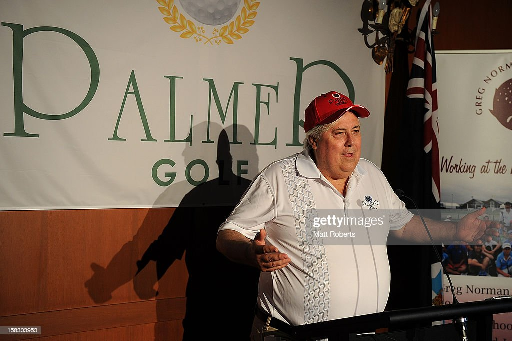 Clive Palmer speaks to the media representatives during a a press conference after the Greg Norman Junior Masters launch at Palmer Colonial Golf Course on December 13, 2012 on the Gold Coast, Australia.