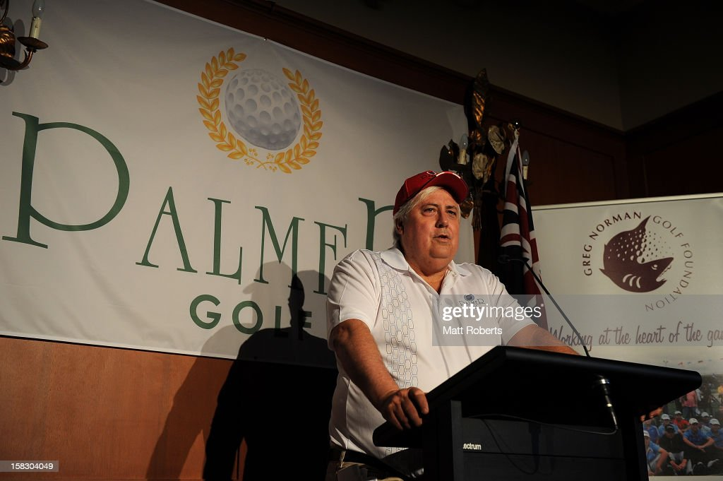 Clive Palmer speaks to the media representatives during a press conference after the Greg Norman Junior Masters launch at Palmer Colonial Golf Course on December 13, 2012 on the Gold Coast, Australia.