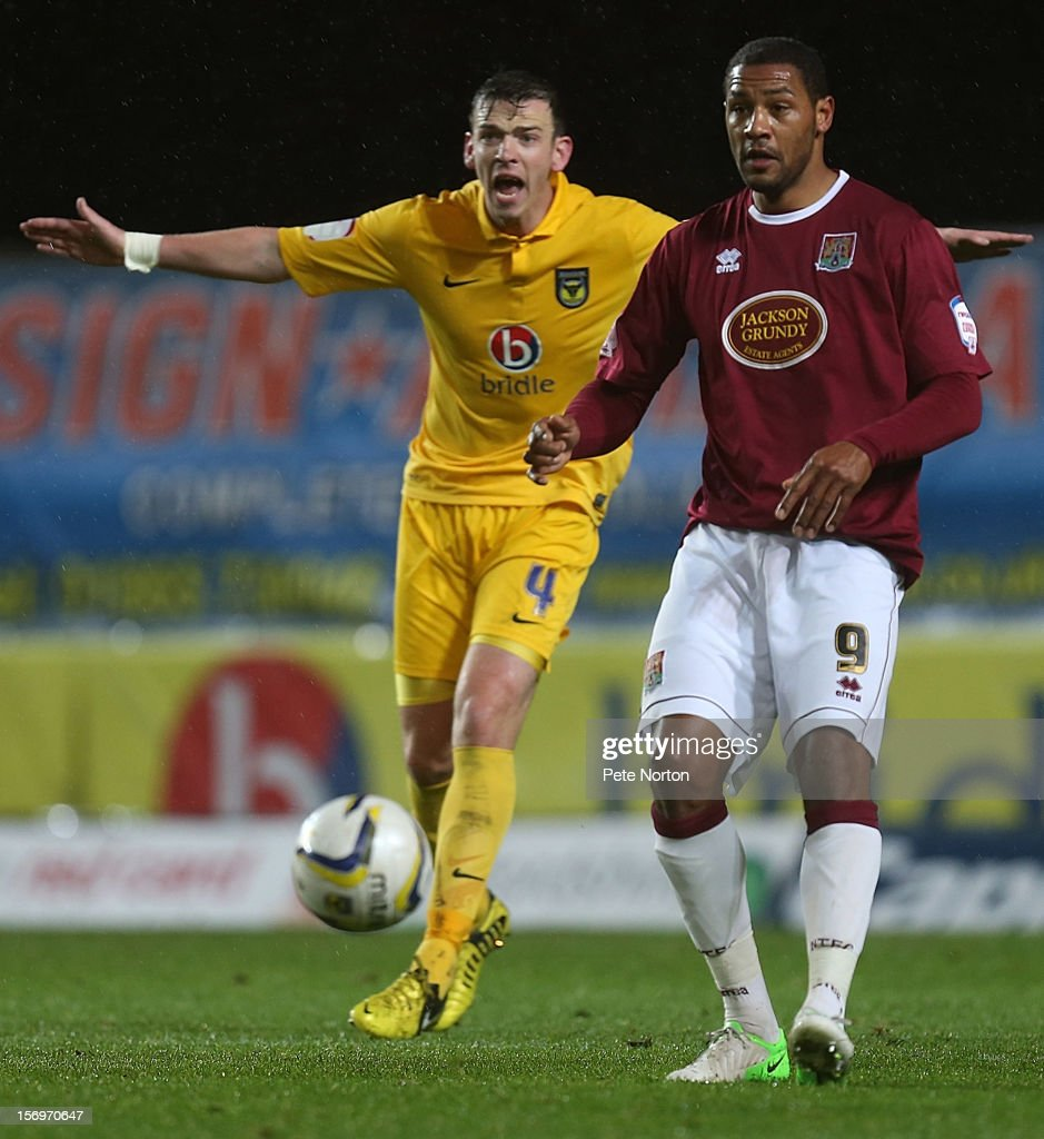 Clive Platt of Northampton Town plays the ball during the npower League Two match between Oxford United and Northampton Town at Kassam Stadium on November 24, 2012 in Oxford, England.