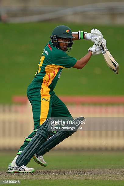 Clive Rose of Tasmania bats during the Matador BBQs One Day Cup match between Tasmania and Victoria at North Sydney Oval on October 20 2015 in Sydney...