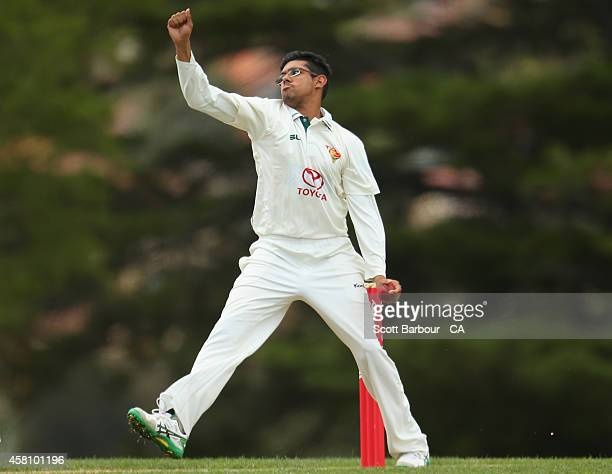 Clive Rose of Tasmania bowls during the Futures League match between Tasmania and South Australia at Lindisfarne Oval on October 30 2014 in Hobart...