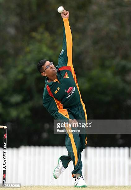 Clive Rose of Tasmania bowls during the Matador BBQs One Day Cup match between Tasmania and Victoria at Allan Border Field on October 8 2014 in...