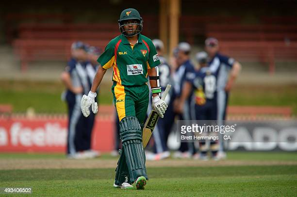Clive Rose of Tasmania leaves the field after being dismissed by James Pattinson of Victoria during the Matador BBQs One Day Cup match between...