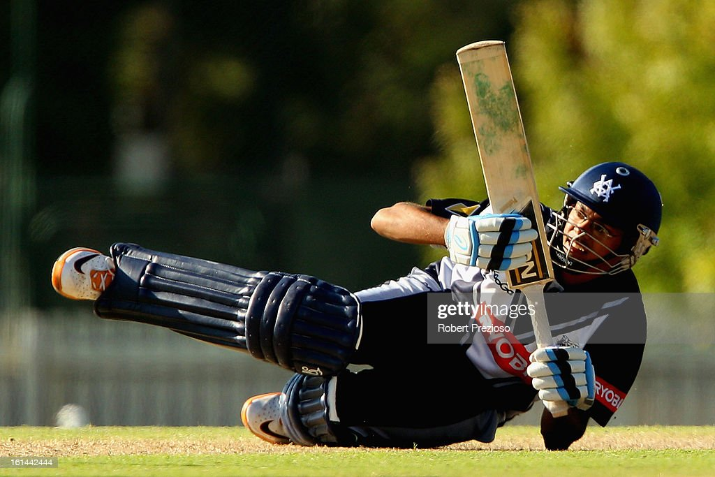 Clive Rose of the Bushrangers falls after playing a shot during the International Tour match between the Victoria Bushrangers and England Lions at Junction Oval on February 11, 2013 in Melbourne, Australia.