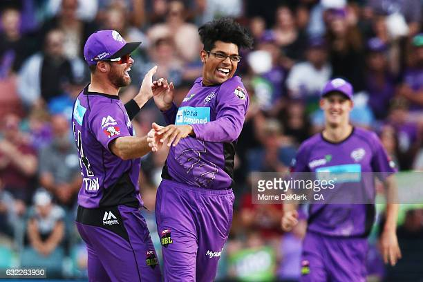 Clive Rose of the Hobart Hurricanes celebrates after getting the wicket of Sam Whiteman of the Perth Scorchers during the Big Bash League match...