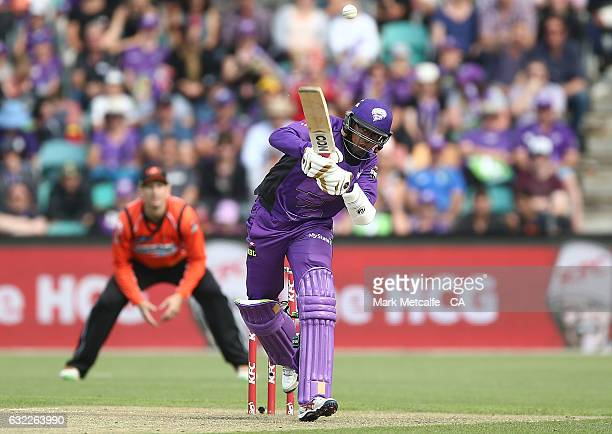 Clive Rose of the Hurricanes bats during the Big Bash League match between the Hobart Hurricanes and the Perth Scorchers at Blundstone Arena on...