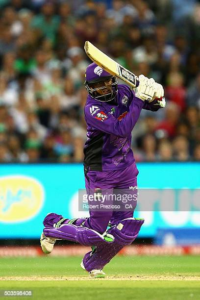Clive Rose of the Hurricanes plays a shot during the Big Bash League match between the Melbourne Stars and the Hobart Hurricanes at Melbourne Cricket...