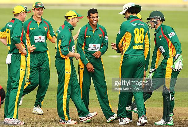 Clive Rose of the Tigers celebrates a wicket with team mates during the Matador BBQs One Day Cup match between South Australia and Tasmania at...