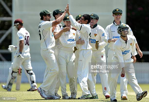 Clive Rose of the Tigers celebrates with team mates after taking the wicket of Chris Lynn of the Bulls during day three of the Sheffield Shield match...