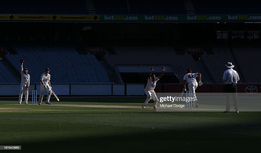 Clive Rose of the Victorian Bushrangers successfully appeals for an LBW to dismiss Ronan McDonald of the Queensland Bulls during day one of the Sheffield Shield match between the Victorian Bushrangers and the Queensland Bulls at Melbourne Cricket Ground on February 18, 2013 in Melbourne, Australia.