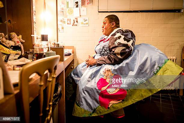 Clive Rowe playing Mother Goose waits in his dressing room during a performance of Mother Goose at Hackney Empire on December 2 2014 in London England