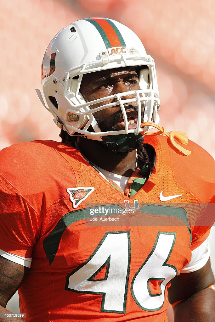 Clive Walford #46 of the Miami Hurricanes warms up prior to the game against the South Florida Bulls on November 17, 2012 at Sun Life Stadium in Miami Gardens, Florida. The Hurricanes defeated the Bulls 40-9.