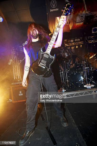 Clément Flandrois of Svart Crown performs during the final day of Hammerfest at Pontins on March 19 2011 in Prestatyn United Kingdom
