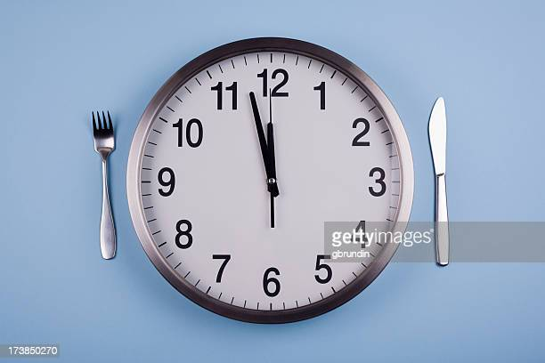 Clock acting as a plate to represent lunch time