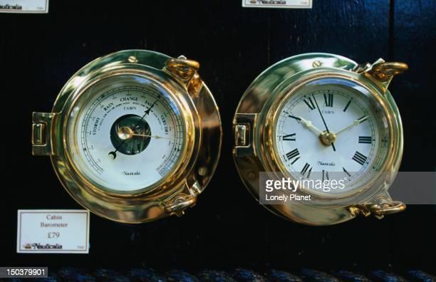 Clock and barometer displayed in Nauticalia shop, Greenwich.