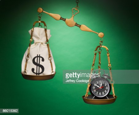 Clock and Money Bag on Scale