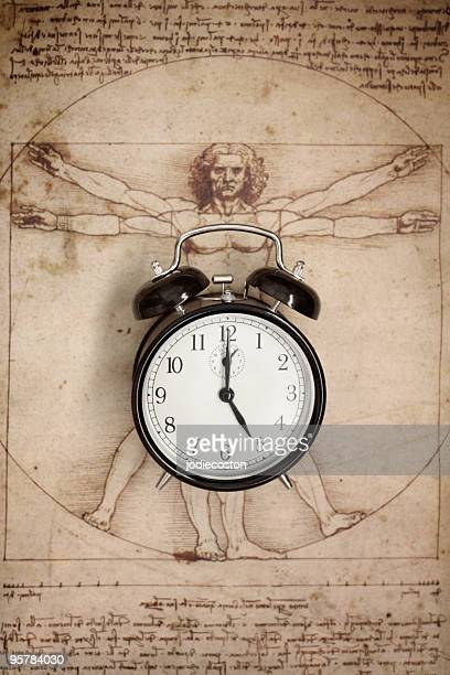 Clock and Vitruvian Man