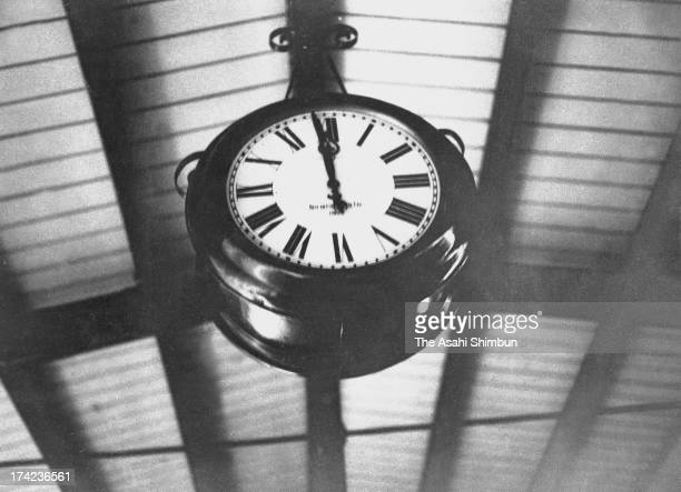A clock at Tokyo Station remains displaying 1158 am the time the Great Kanto Earthquake struck in September 1923 in Tokyo Japan The estimated...