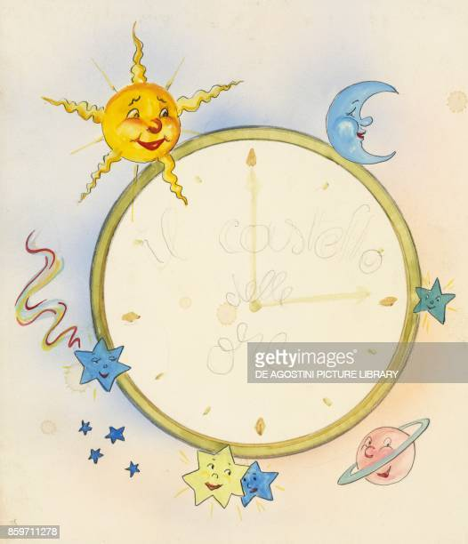 Clock decorated with sun moon stars and planets children's illustration drawing