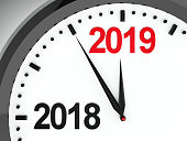 Black clock with 2018-2019 change represents coming new year 2019, three-dimensional rendering, 3D illustration