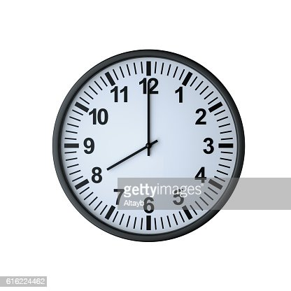 Clock face showing eight o'clock : Stockfoto