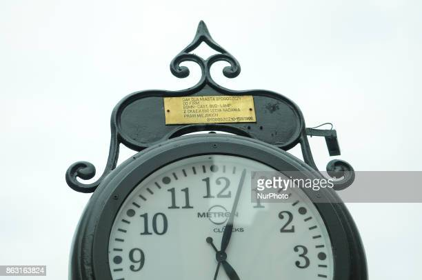 A clock is seen in the old town center of Bydgoszcz Poland on 19 October 2017