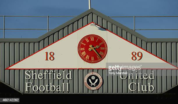 Clock on the stand at Bramall Lane home of Sheffield United during the FA Cup Second Round match between Sheffield United and Plymouth Argyle at...