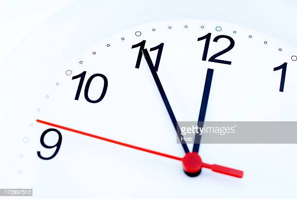 clock showing 5 minutes to 12