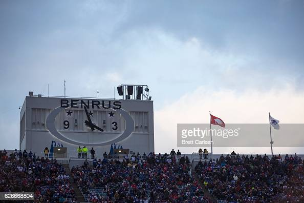 A clock sponsored by Benrus on top of the upper deck during the game between the Buffalo Bills and the Jacksonville Jaguars on November 27 2016 at...