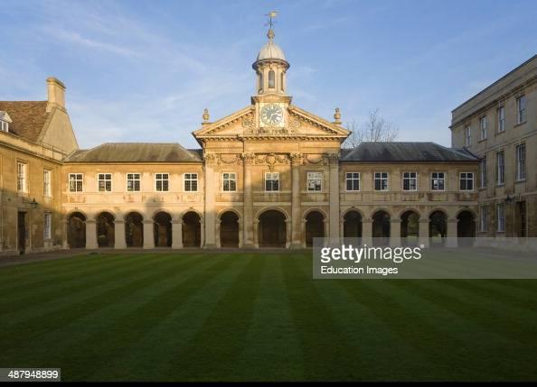 Clock tower and quadrangle courtyard of Emmanuel College University of Cambridge England