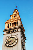 Clock tower at the Ferry Terminal Building along the waterfront, San Francisco California USA