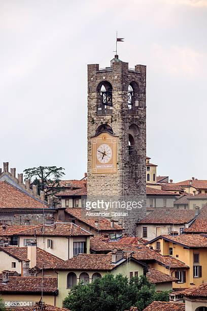 Clock tower in Bergamo, Lombardy, Italy