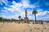 Izmir Konak square with Historical Clock Tower-Saat Kulesi . It was built in 1901, in order to commemorate the 25th anniversary of Abdulhamid II accession to the throne. The tower is 25 metres high an