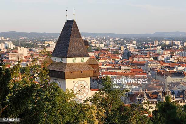 Clock tower on Schlossberg, castle hill, Graz, Styria, Austria, Europe, PublicGround