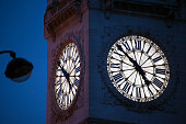 Clock tower in Paris at sunset