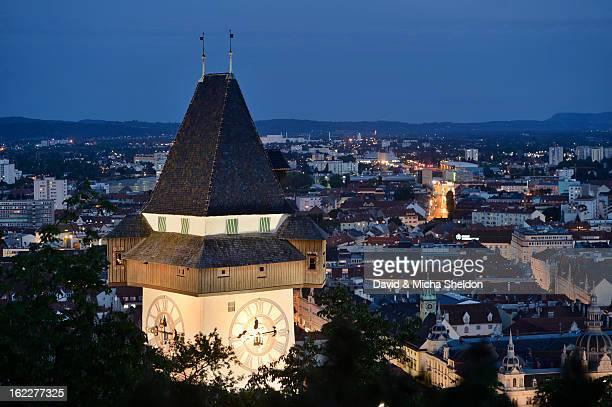 Clock tower, Schlossberg, Graz, Styria, Austria, Europe