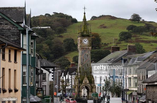 A clock tower stands in high street on October 5 2012 in Machynlleth Wales Fiveyearold April Jones was abducted from outside her house on Monday...