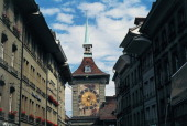 Clock tower the Old City of Berne Canton of Bern Switzerland 16th century