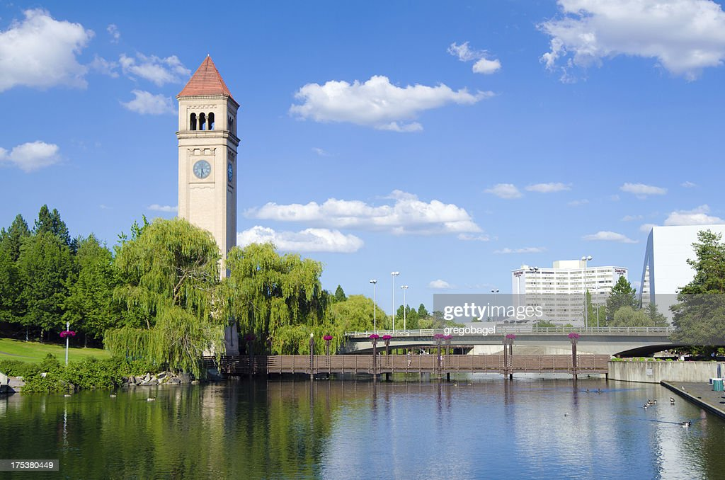 'Clock tower with reflection at Riverfront Park in Spokane, WA'