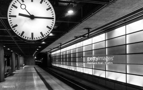 Clock Under Ceiling At Subway Station