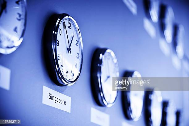 Clock wall with Singapore time